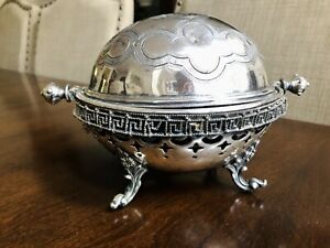 Antique Old Silver Plated Butter Cheese Dome Rollover Serving Dish