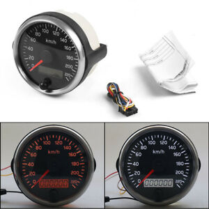For 12v 24v 85mm Racing Speedometer 0 220km H Speed Gauge Meter With Digital Lcd