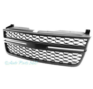 For 03 06 Chevy Silverado Avalanche Mesh Front Bumper Hood Upper Grille Black