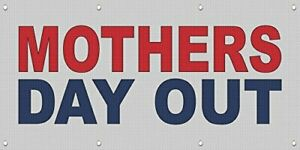 Mothers Day Out Red Blue Mesh Windproof Fence Banner Sign 3 Ft X 6 Ft