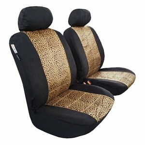 Pair Front Leopard Velour Car Seat Covers For Ford F 150 1998 2020