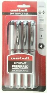 Uni ball 207 Impact Gel Pens 65812 Bold Point 1 0mm Black 4 Count