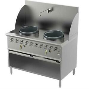 Two Burners 13 13 Commercial Wok Range ng lpg with Cabinet Faucet And Back Pa