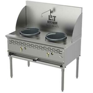 Two Burners 13 13 Commercial Wok Range ng lpg with Faucet And Back Panel
