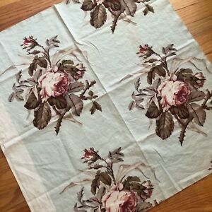 Antique Vintage C 1920 40 French Or English Watercolor Style Rose Printed Fabric
