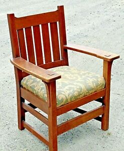 Antique L J G Stickley Arm Chair Mission Oak Arts Crafts Thick Ook Wood
