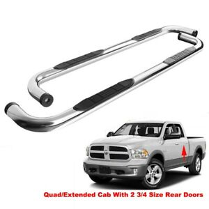 3 Round Side Step Nerf Bars Running Board For 09 18 Dodge Ram 1500 Quad ext Cab
