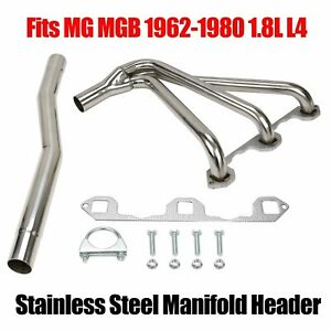 Stainless Performance Manifold Header W Gasket For Mg Mgb 1962 1980 1 8l L4