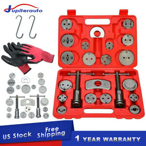 25pcs Universal Disc Brake Caliper Tool Piston Pad Wind Back Hand Kit W Gloves