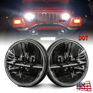 Dot Pair 7 Round Hi Lo Sealed Led Headlight Headlamp For Jeep Wrangler Cj Tj Jk