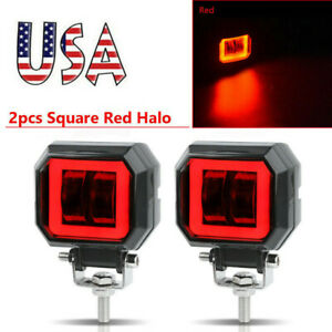 3inch Led Work Light Bar Spot Driving Fog Pods Drl Red Halo Offroad 4wd Atv Us