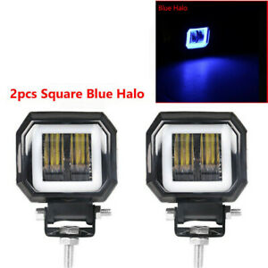 2x 3inch Led Work Light Cube Pods Driving Fog Spot Drl Blue Halo Lamp Atv 12v Us