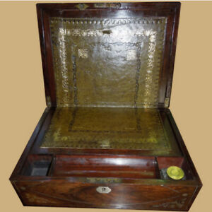 Antique Victorian Rosewood And Mother Of Pearl Inlay Lap Or Travel Desk