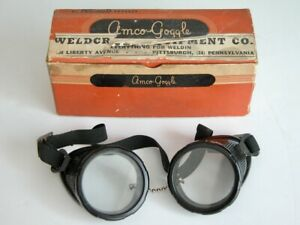 Vtg Amco goggle Safety Goggles Steampunk Clear Round Lenses Welding