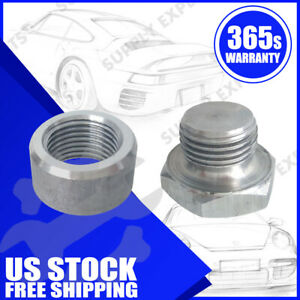 O2 Oxygen Sensor Mild Steel Weld On Bung Plug Nut Cap Kit Set M18 X 1 5