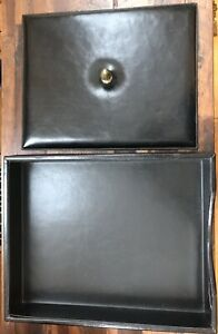 Vtg Bosca Black Executive Leather Letter Desk Office Tray Organizer Storage Home