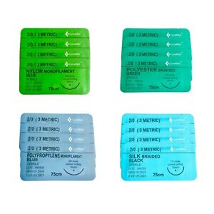 2 0 Surgical Sutures Silk Nylon Polyester Polypropylene Braided 16 pack Sterile