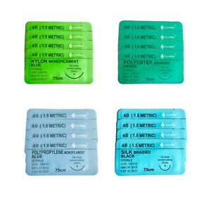 4 0 Surgical Sutures Silk Nylon Polyester Polypropylene Braided 16 pack Sterile