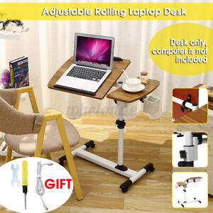Angle Height Adjustable Rolling Laptop Desk Cart Stand Over Bed Hospital Table