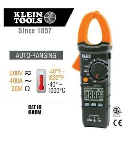 Klein Toolscl210400 Amp Ac dc Auto Ranging Digital Clamp Meter With temp pouch
