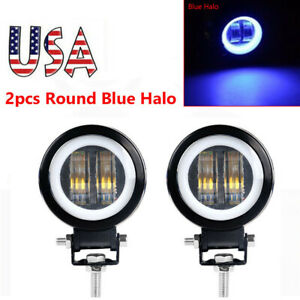 2x 3inch Led Work Light Blue Halo Spot Pod Driving Offroad 12v 4wd Motor Car Us