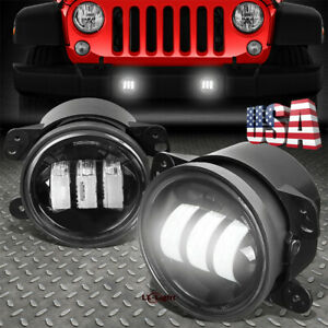 Pair 4 Inch Round Led Fog Lights Driving Lamps Cree For Jeep Wrangler Jk Cj Tj