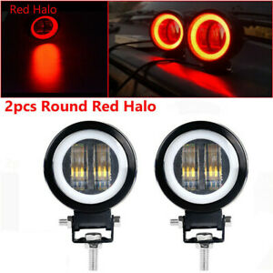 2x 3inch Led Work Light Red Halo Driving Fog Lamp Motorcycle Atv Offroad 4wd Us