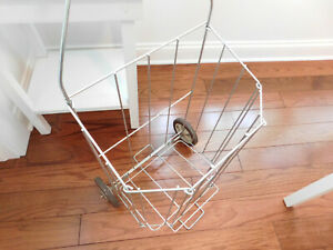 Vintage French Market Wire Shopping Grocery Laundry Cart Basket On Wheels Folds