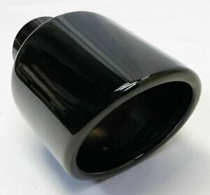 Exhaust Tip 2 25 Inlet 4 50 Dia X 7 75 Long Black Chrome Stainless Round Slant