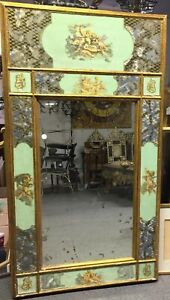 Antique Mirror Hand Decorated Painted Etched Glass Mirror Gorgeous