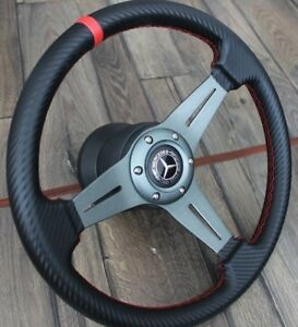 Steering Wheel Mercedes Benz Carbon Leather R107 W123 W124 W201 W126 1979 1992
