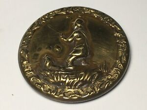 1845 Sporting Button Hunts Man With Rifle In Marsh With Dog Backmark Brass