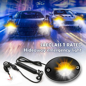 Led Hideaway Strobe Lights Emergency Warning Flashing Amber White For Car Trucks