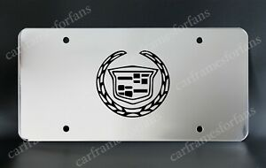 cadillac License Plate Custom Made Of Chrome Plated Metal Black Logo