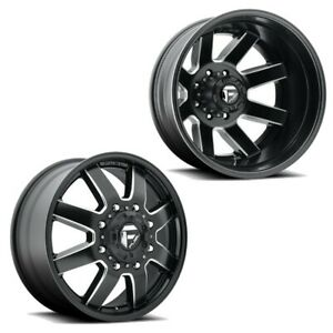 22x8 25 D538 Fuel Maverick Blk Milled 99 04 Ford Dually Wheels 8x170 Set Of 6