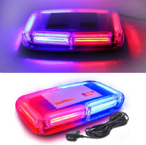 Roof Top Strobe Light Bar Emergency Warning Flash Beacon Cob For Truck Red Blue
