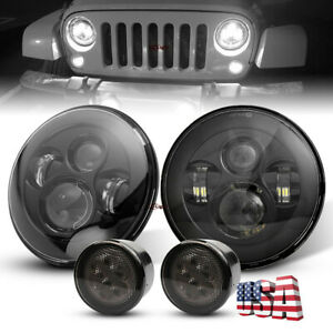 Black 7inch Led Headlights W Turn Signals Light Kit For Jeep Wrangler 2007 2017
