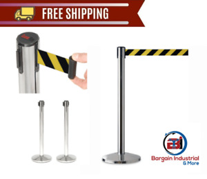 Safety Crowd Control Queue Post Retractable Belt Stanchion Security Barrier 2 pc