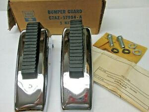 Nos 1967 67 Galaxie Full Size Ford Rear Bumper Guards With Pads C7az 17984 A