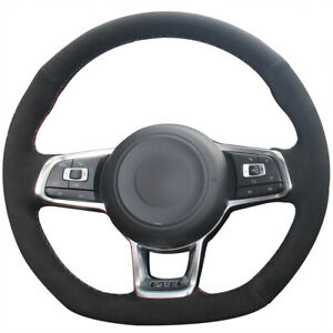 Black Suede Car Steering Wheel Cover For Vw Golf 7 Golf R Mk7 Polo Gti Scirocco