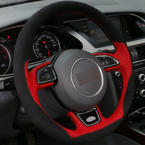 Diy Car Steering Wheel Cover Red Leather Black Suede For Audi A1 A3 A5 A7