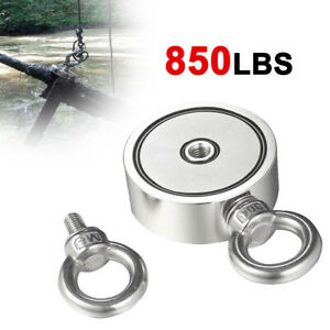 850lbs Fishing Big Double Ring Magnet Kit Pulling Force Strong Neodymium