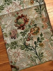 Antique Vintage French Floral Cotton Jacquard Tapestry Sample Fabric C 1920 30