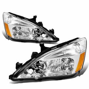 2003 07 Honda Accord Chrome Clear Headlights Pair 2 Items