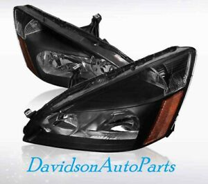 2003 07 Honda Accord Black Housing Amber Corner Headlights pair