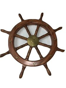 Captains Nautical Ship Wheel 24 Wooden Steering Wheel With Brass