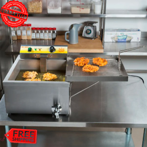 25 Lbs Funnel Cake Donut Elephant Ear Deep Fryer 120v Commercial Restaurant Nsf