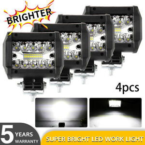 4 Inch Cree Led Work Light Bar Cube Pods Off Road Lamp White Amber Strobe Flash