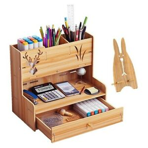 Wood Office Desk Organizer Desktop Pen Pencil Storage Box Phone Holder Drawer