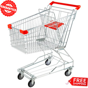 Silver Metal Supermarket Grocery Carts Rolling Shopping Baskets Swivel Wheels